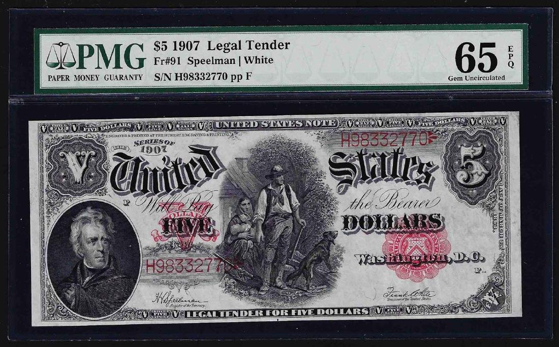 1907 $5 Woodchopper Legal Tender Note Fr.91 PMG Gem