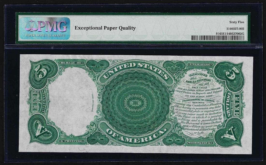 1907 $5 Woodchopper Legal Tender Note Fr.91 PMG Gem - 2