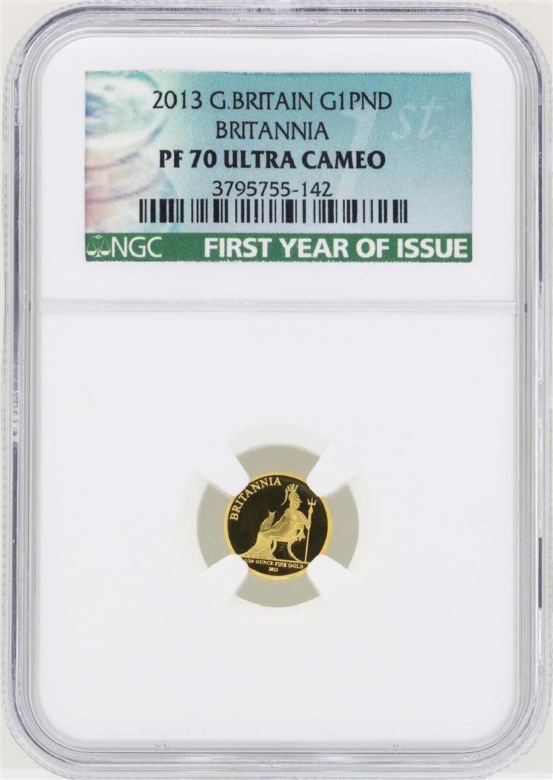 2013 Great Britain 1 Britannia Pound Gold Coin NGC PF70