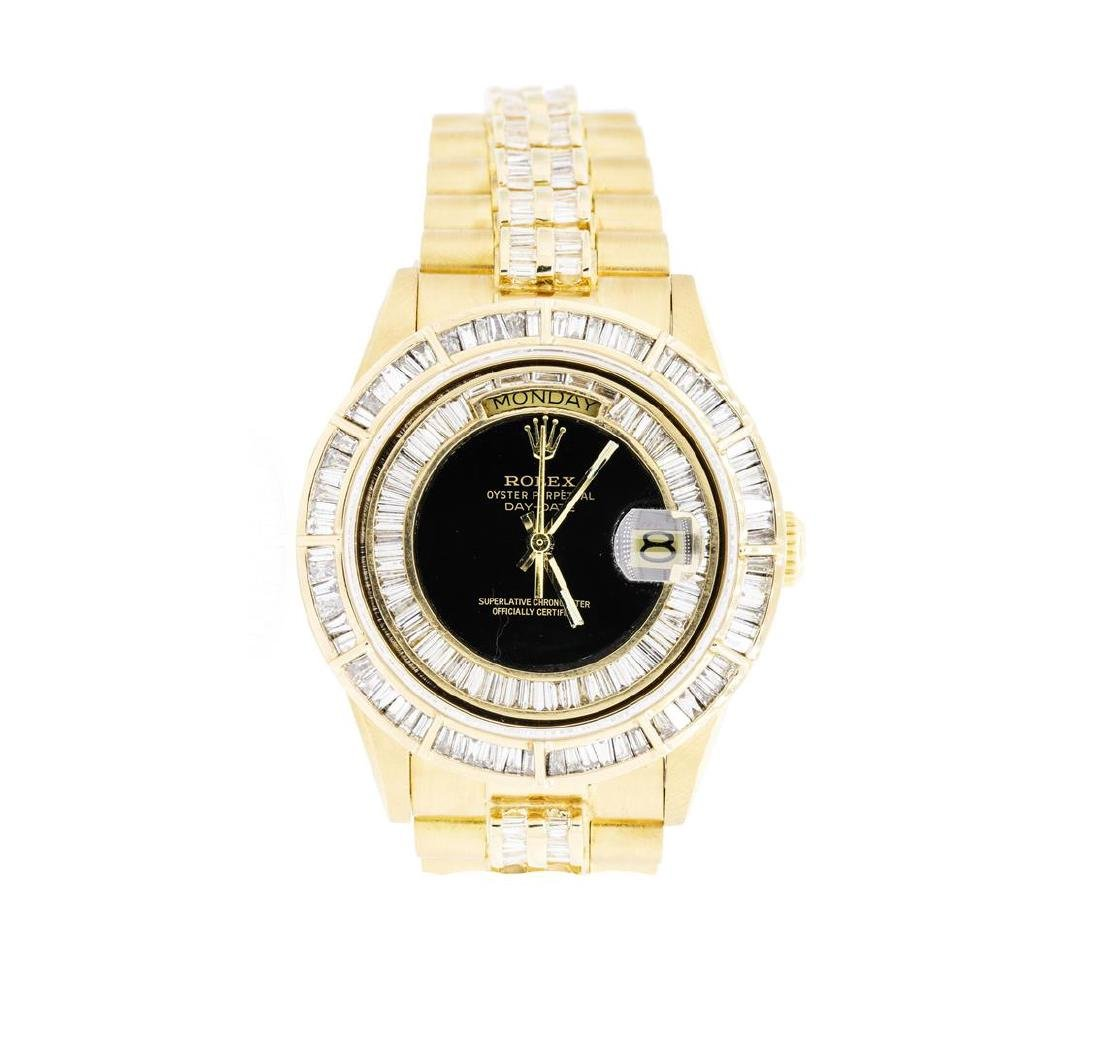 Mens 18KT Yellow Gold Rolex Crown Collection Style