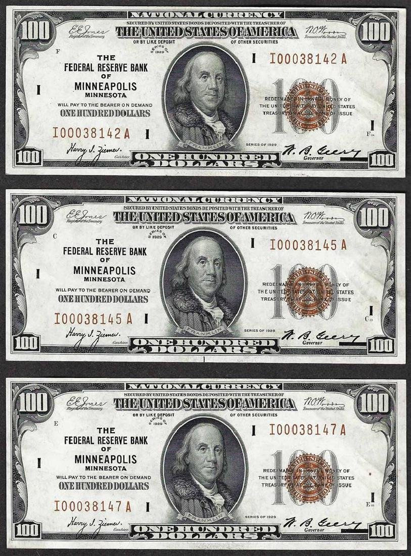 Lot of (3) 1929 $100 Federal Reserve Bank of