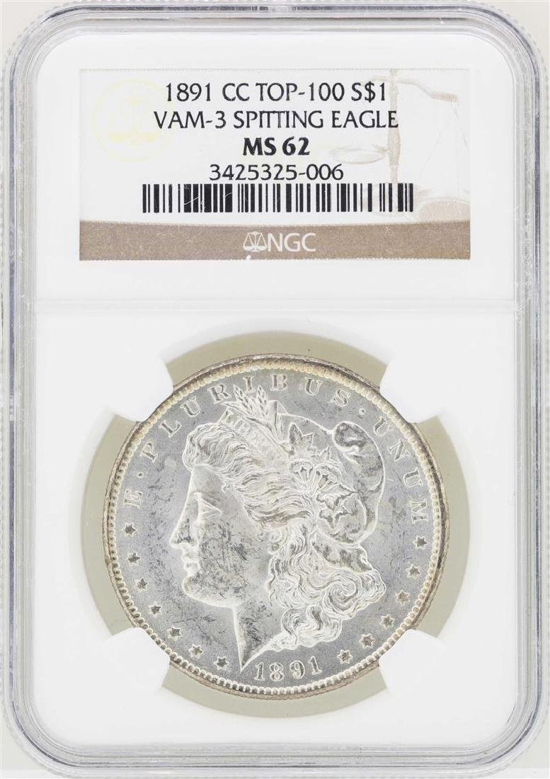 1891-CC $1 Morgan Silver Dollar Coin VAM-3 Spitting