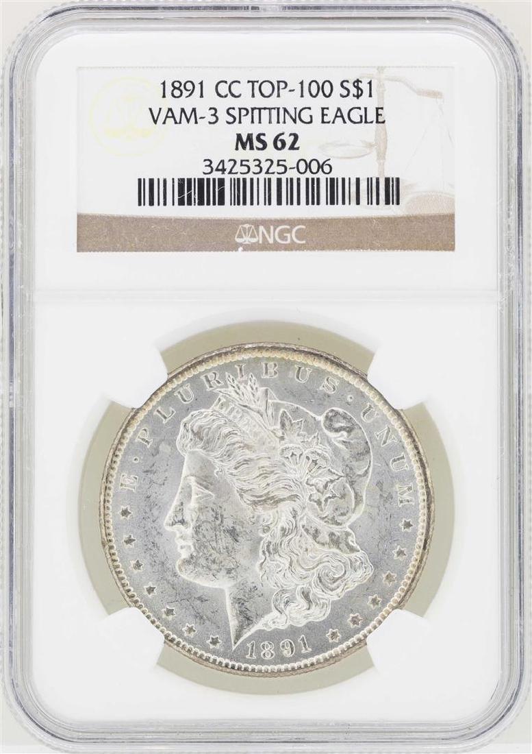 1891-CC $1 Morgan Silver Dollar Coin VAM-3 Spitting