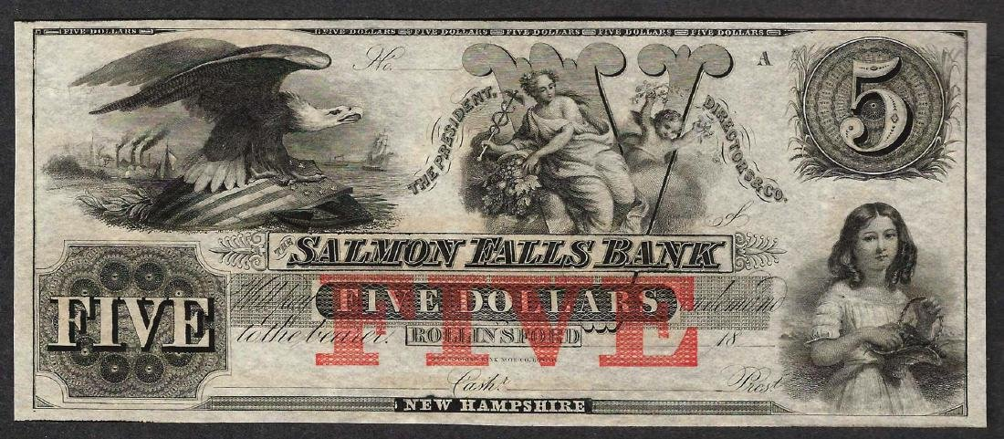 1800's $5 The Salmon Falls Bank Obsolete Note