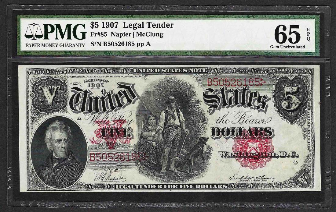 1907 $5 Woodchopper Legal Tender Note Fr.85 PMG Gem