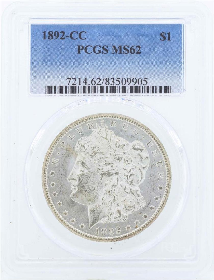 1892-CC $1 Morgan Silver Dollar Coin PCGS MS62
