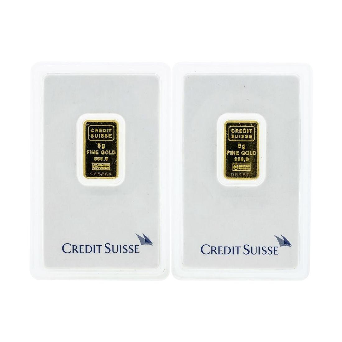 Set of (2) 5 Gram Credit Suisse .9999 Fine Gold Ingot