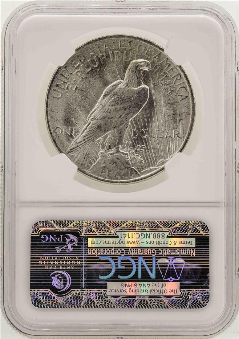1923 $1 Peace Silver Dollar Coin NGC MS63 - 2