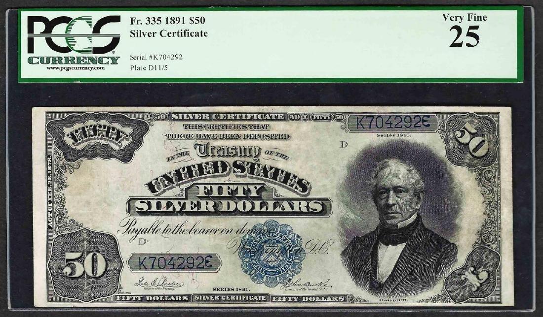 1891 $50 Silver Certificate Note Fr.335 PCGS Very Fine