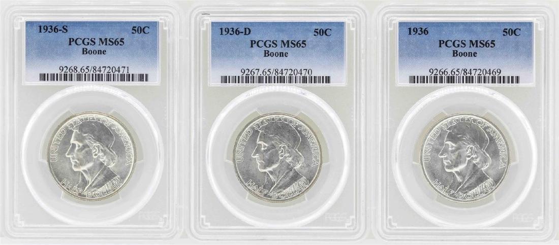 Set of 1936-P/D/S Boone Commemorative Half Dollar Coins