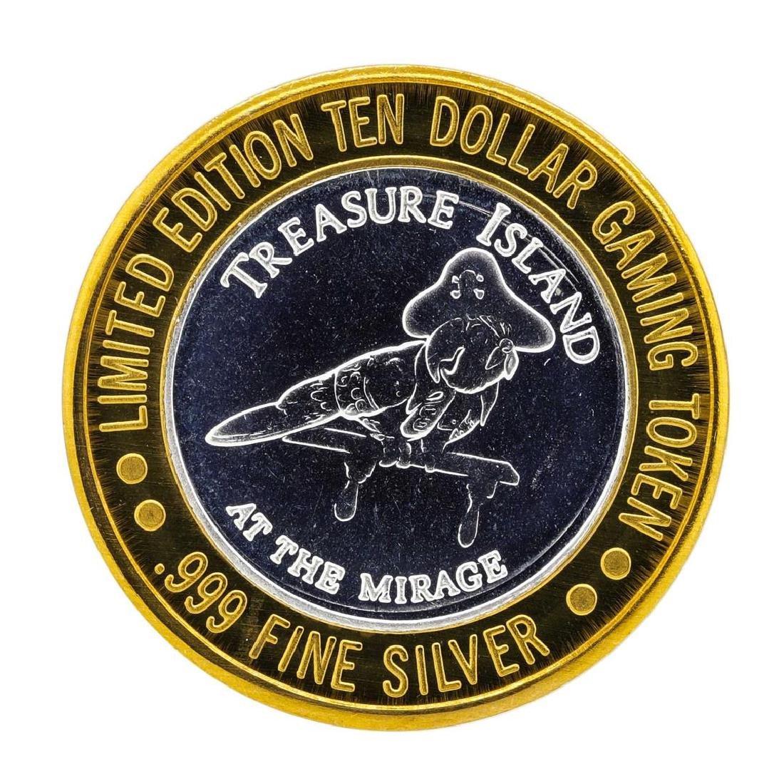 .999 Silver Treasure Island Las Vegas $10 Casino Gaming