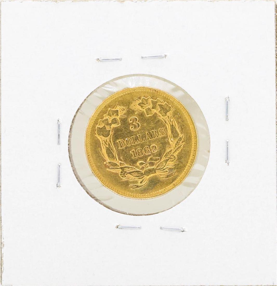 1869 $3 Indian Princess Head Gold Coin - 2