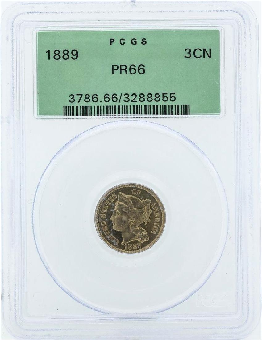 1889 Three Cent Nickel Piece Proof Coin PCGS PR66