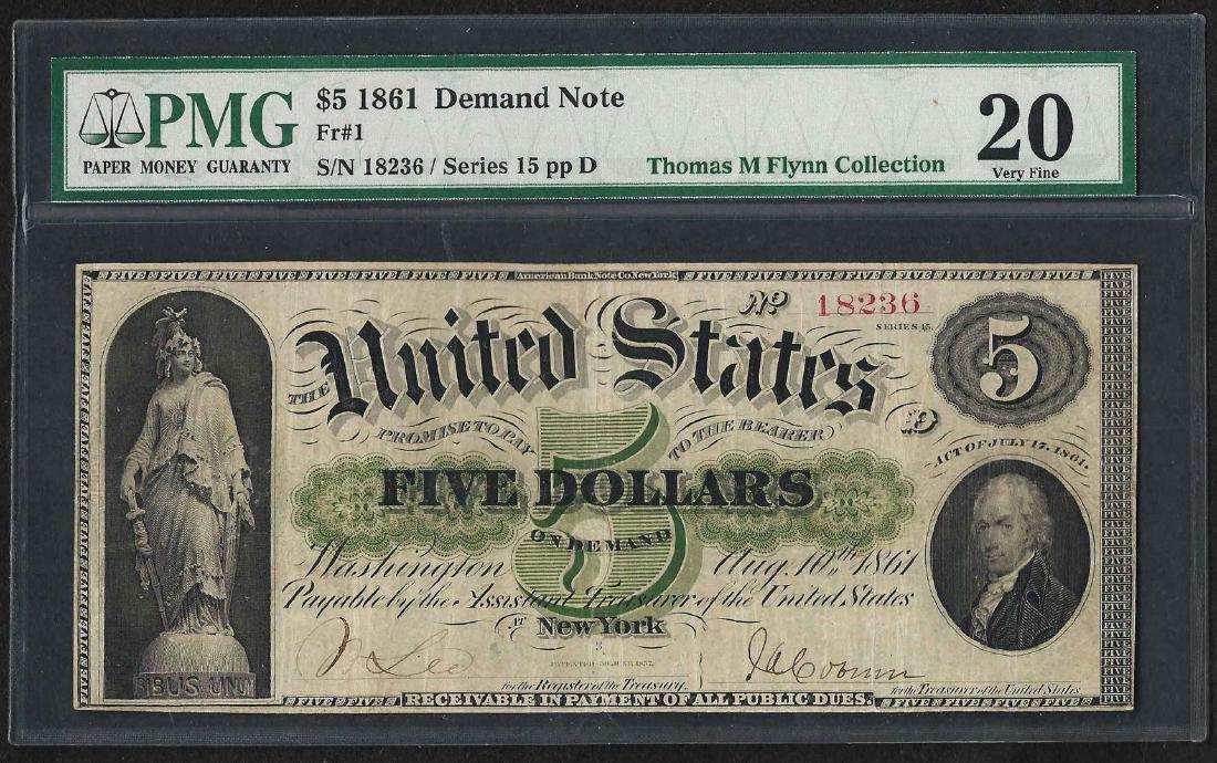 1861 $5 Demand Note New York Fr.1 PMG Very Fine 20