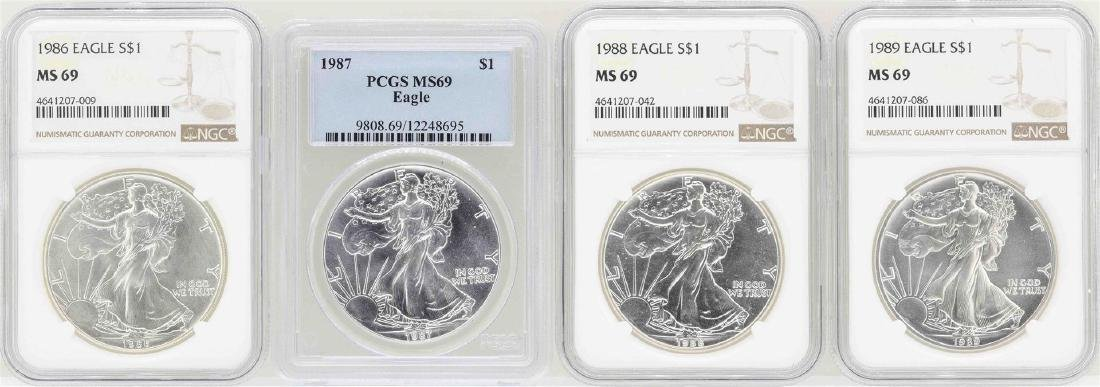 Lot of 1986-1989 $1 American Silver Eagle Coins