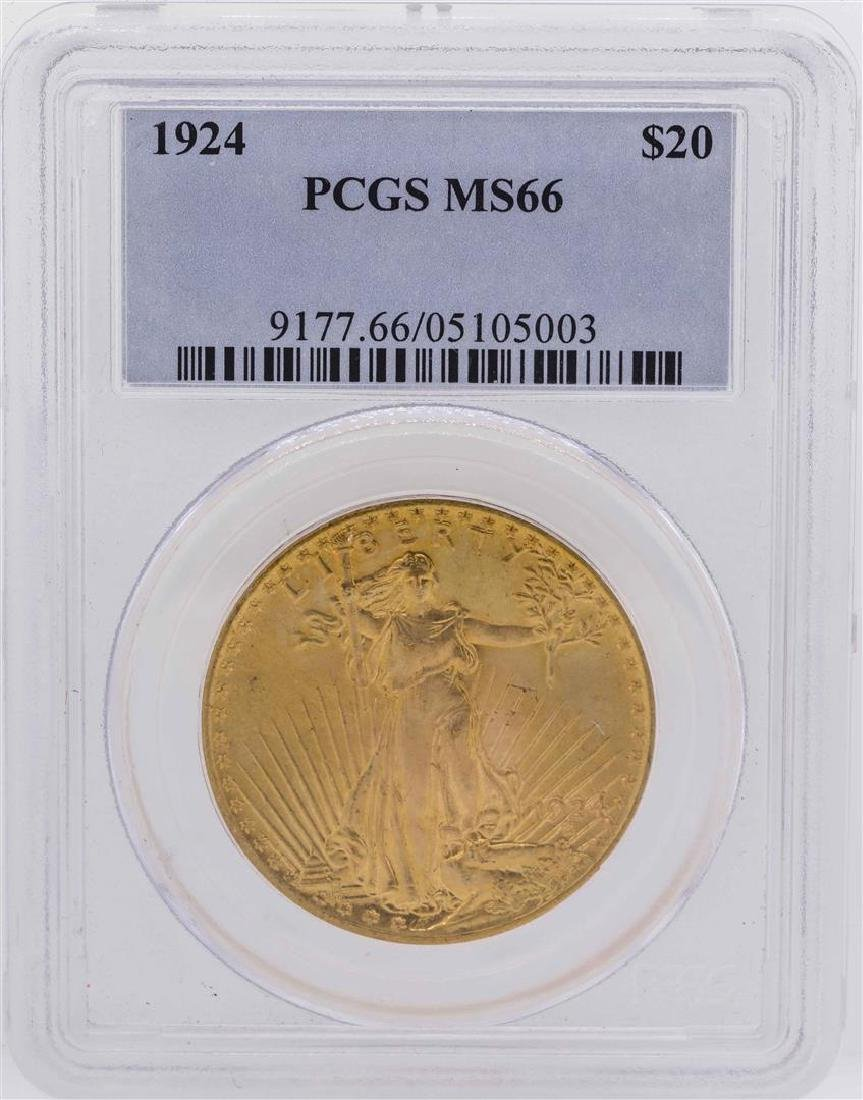1924 $20 Saint Gaudens Double Eagle Gold Coin PCGS MS66