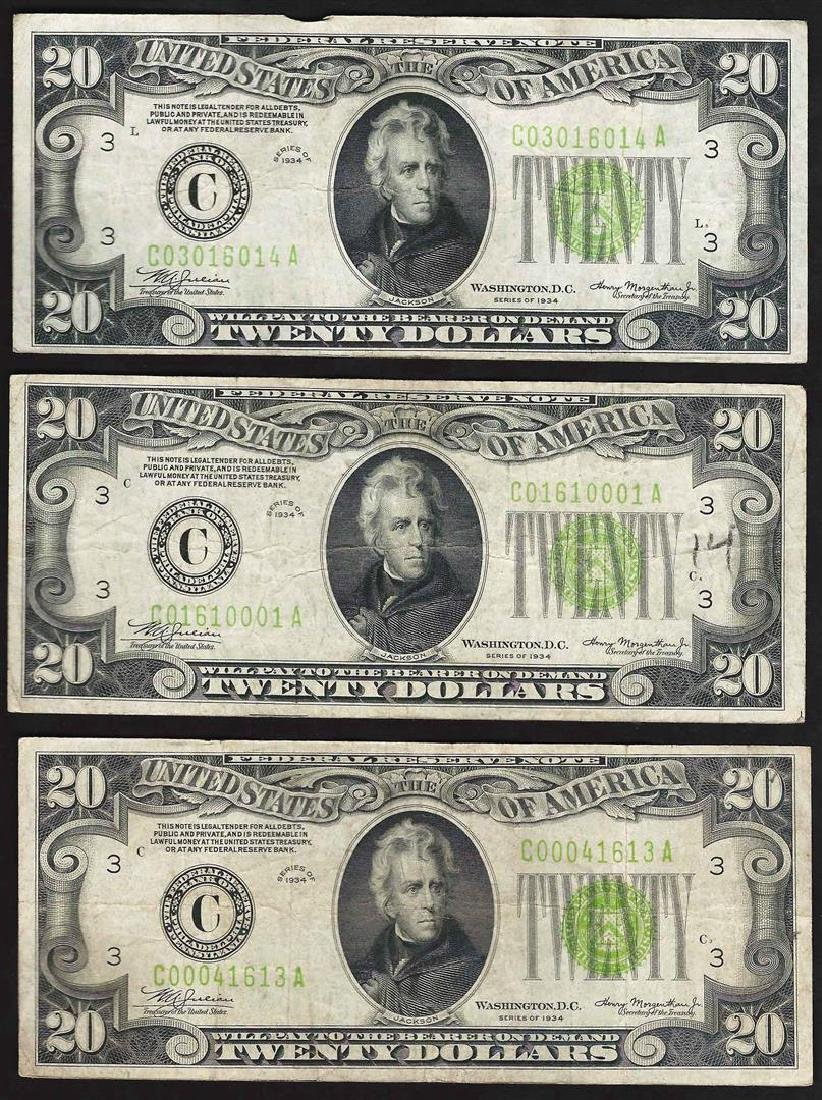 Lot of (3) 1934 $20 Federal Reserve Notes