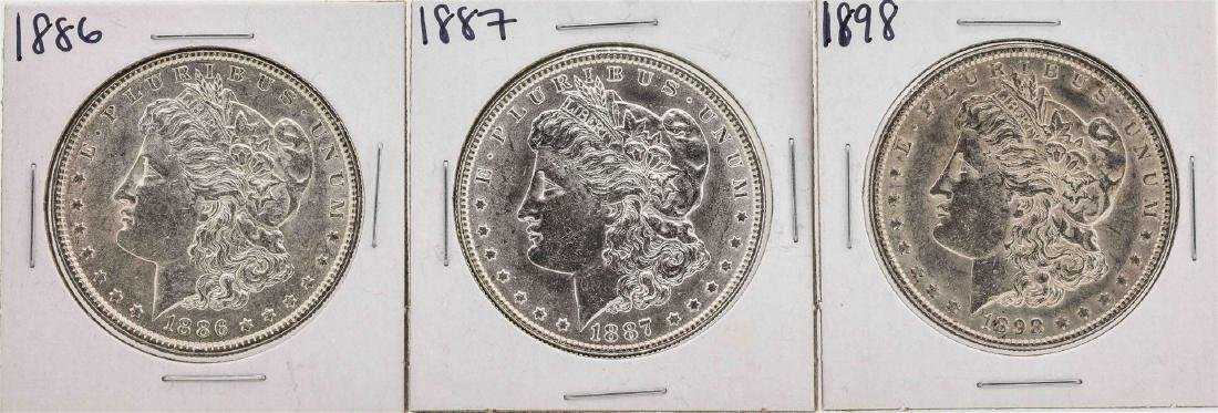 Lot of (3) Assorted Date $1 Morgan Silver Dollar Coins