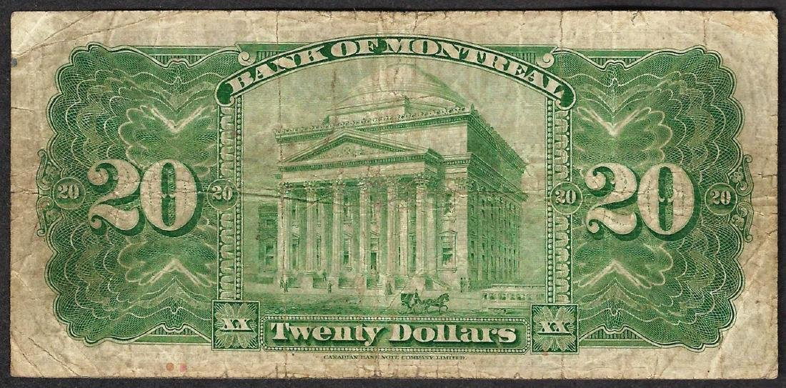 1938 $20 Bank of Montreal Note - 2