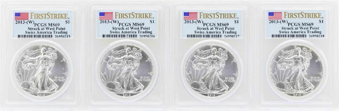 Lot of (4) 2013-W $1 American Silver Eagle Coins PCGS