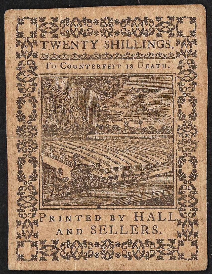 October 1, 1773 Pennsylvania Twenty Shillings Colonial