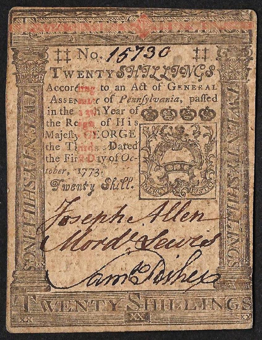 October 1, 1773 Pennsylvania Twenty Shillings Colonial - 2