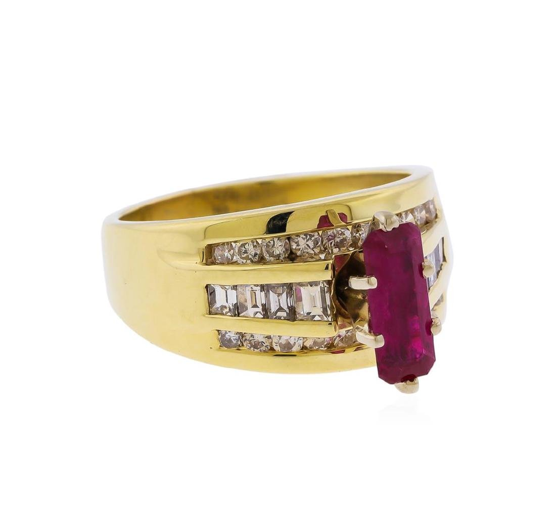 14KT Yellow Gold 1.25 ctw Ruby and Diamond Ring - 2