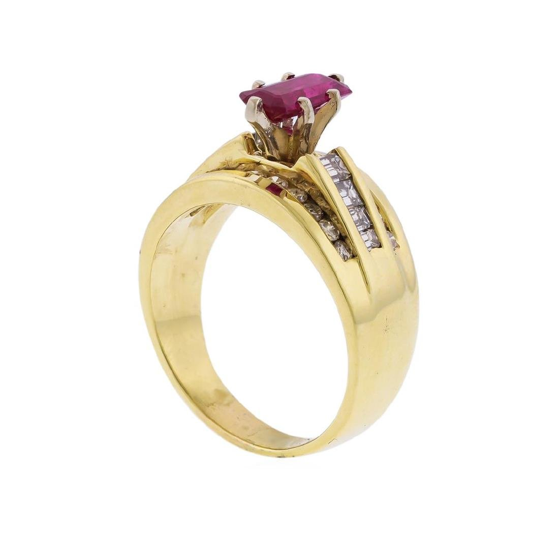 14KT Yellow Gold 1.25 ctw Ruby and Diamond Ring - 3