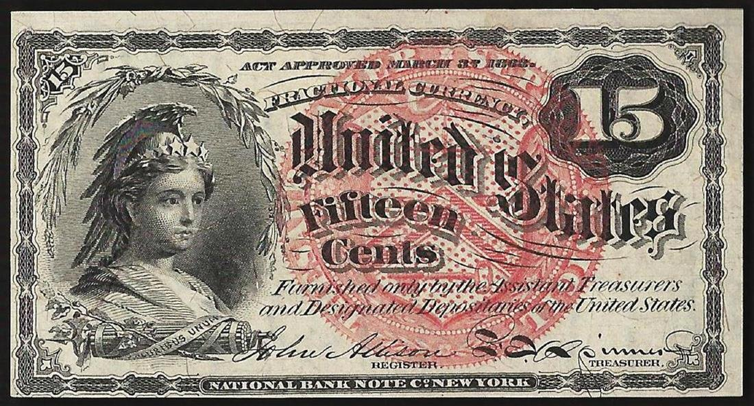 1863 Fifteen Cents Fourth Issue Fractional Note