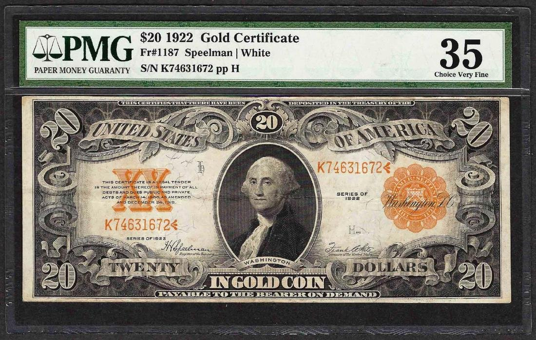 1922 $20 Gold Certificate Note Fr.1187 PMG Choice Very