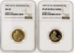 Lot of (2) 1997-W $5 F.D. Roosevelt Gold Coins NGC MS69
