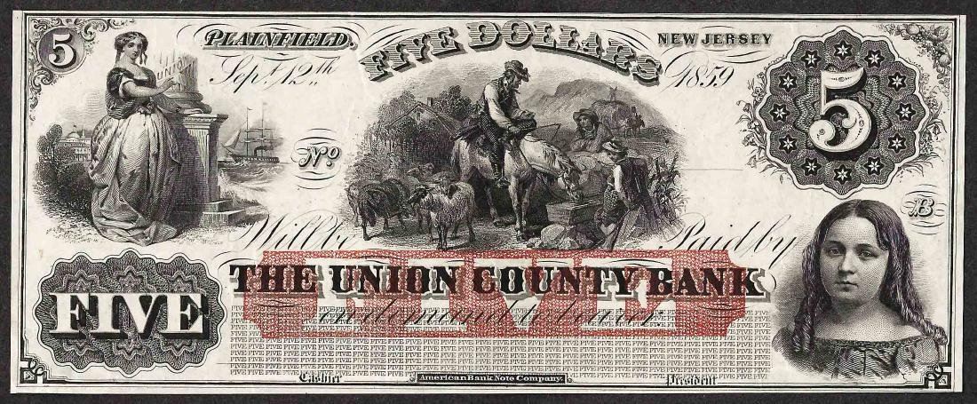 1800's $5 The Union County Bank Obsolete Note