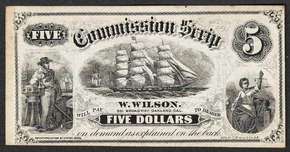 1800's $5 Commission Scrip Note