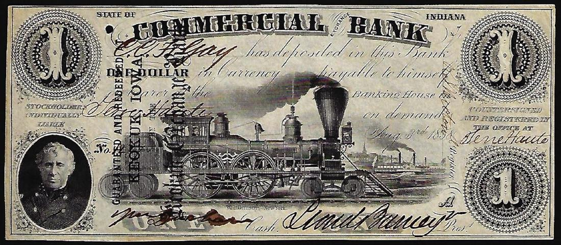 1858 $1 Commercial Exchange Bank Obsolete Note