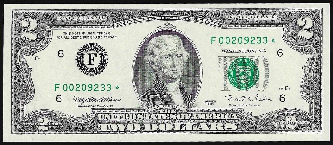1995 $2 Federal Reserve STAR Note Atlanta
