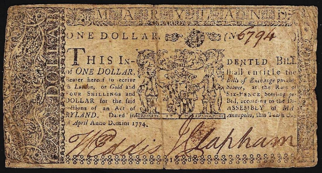 April 10, 1774 $1 Maryland Colonial Currency Note