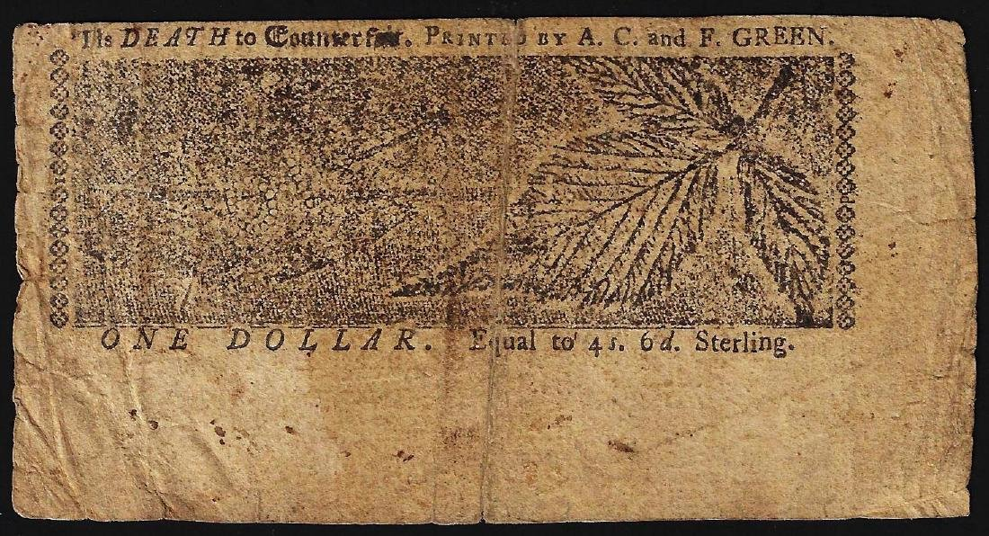 April 10, 1774 $1 Maryland Colonial Currency Note - 2
