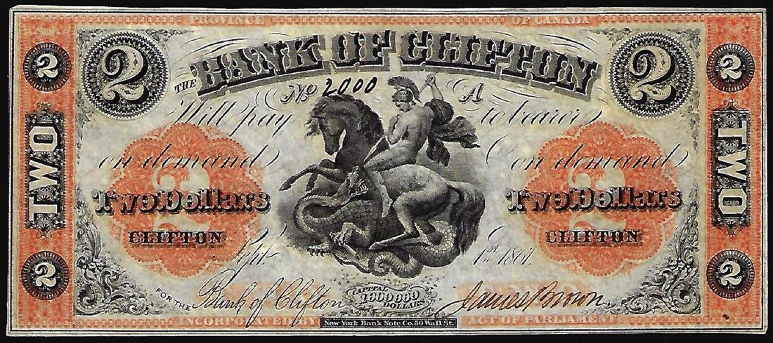 1861 $2 The Bank of Clifton Obsolete Note