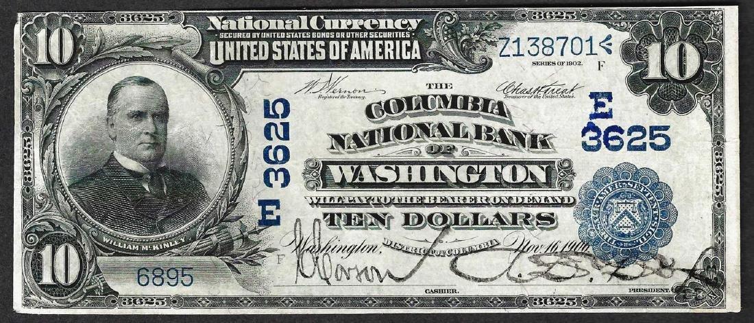 1902 $10 The Columbia National Bank of Washington Note