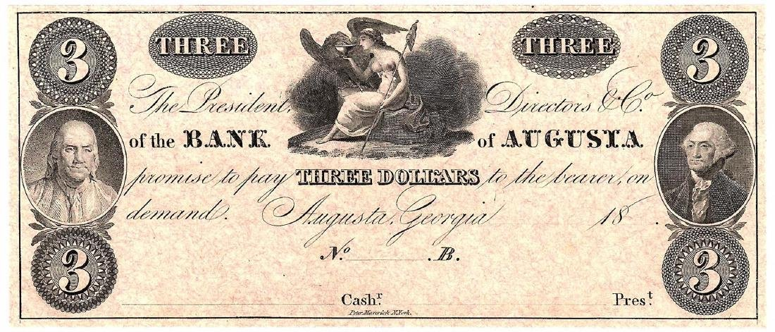 1800's $3 Bank of Augusta Obsolete Currency Note