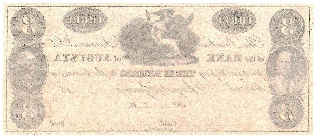 1800's $3 Bank of Augusta Obsolete Currency Note - 2