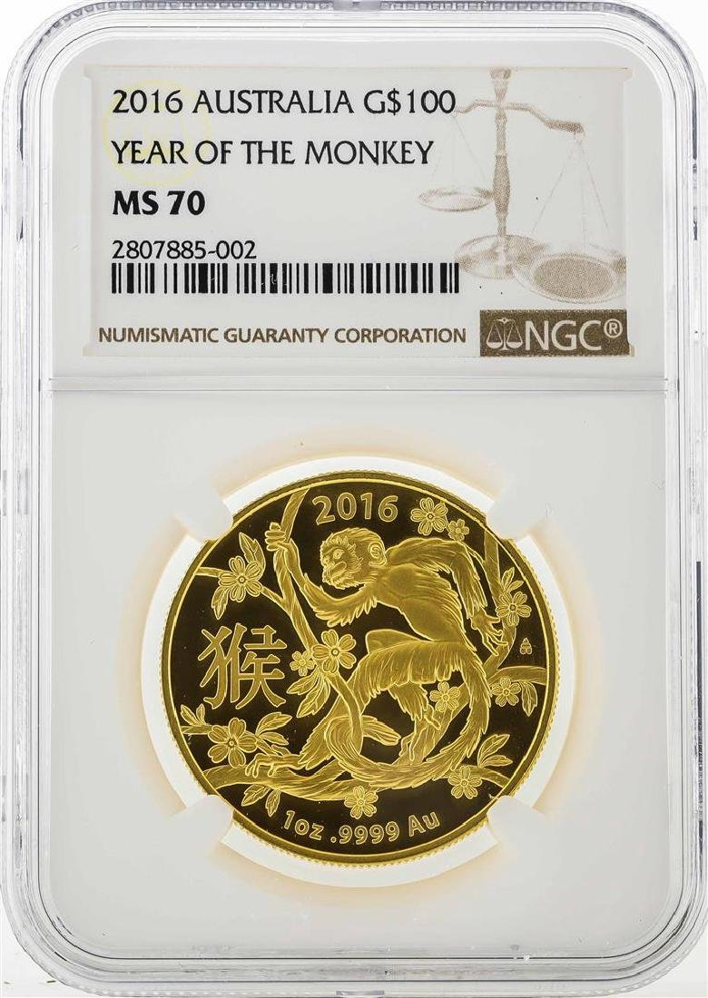 2016 Australia $100 Year of the Monkey Gold Coin NGC