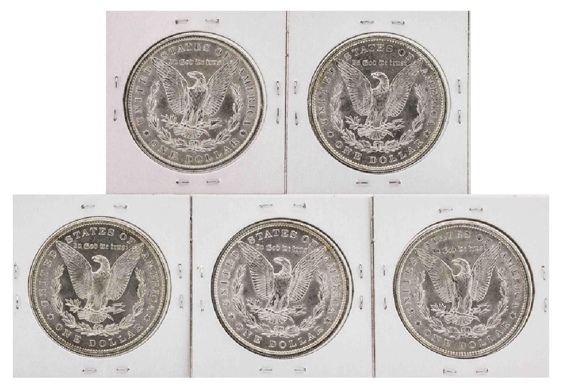 Lot of (5) Assorted Date $1 Morgan Silver Dollar Coins - 2