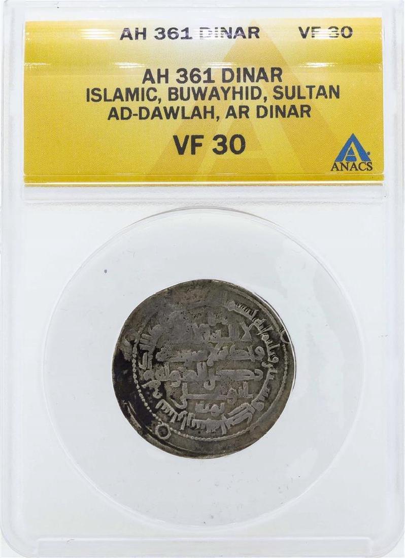 AH 361 Islamic Buwayhid Dinar Coin ANACS VF30