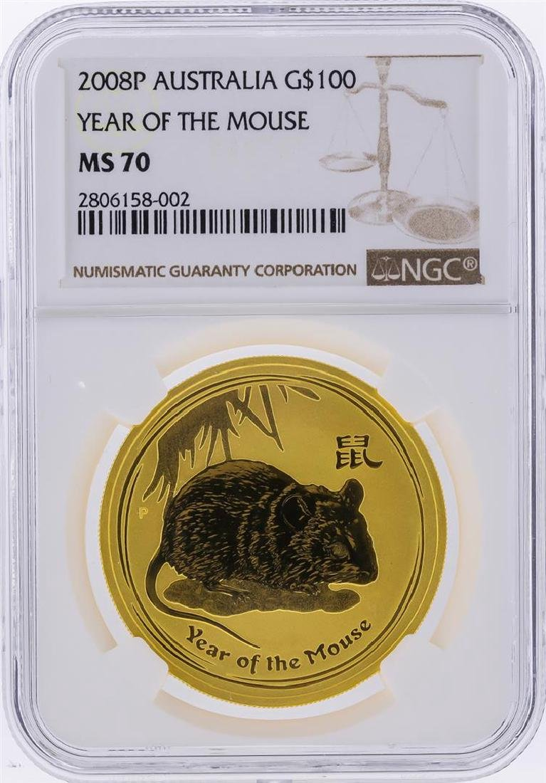 2008P $100 Australia Year of the Mouse Gold Coin NGC