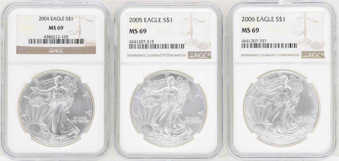 Lot of 2004-2006 $1 American Silver Eagle Coins NGC