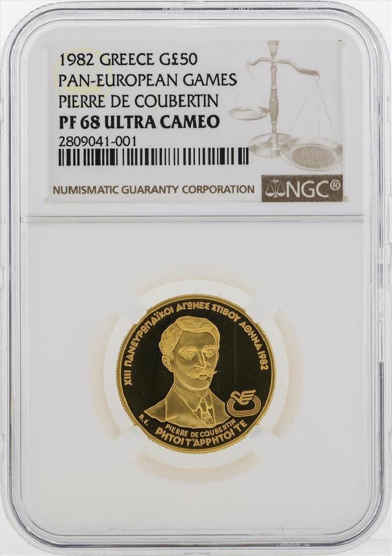 1982 Greece 50 Pounds Pan-European Games Gold Coin NGC