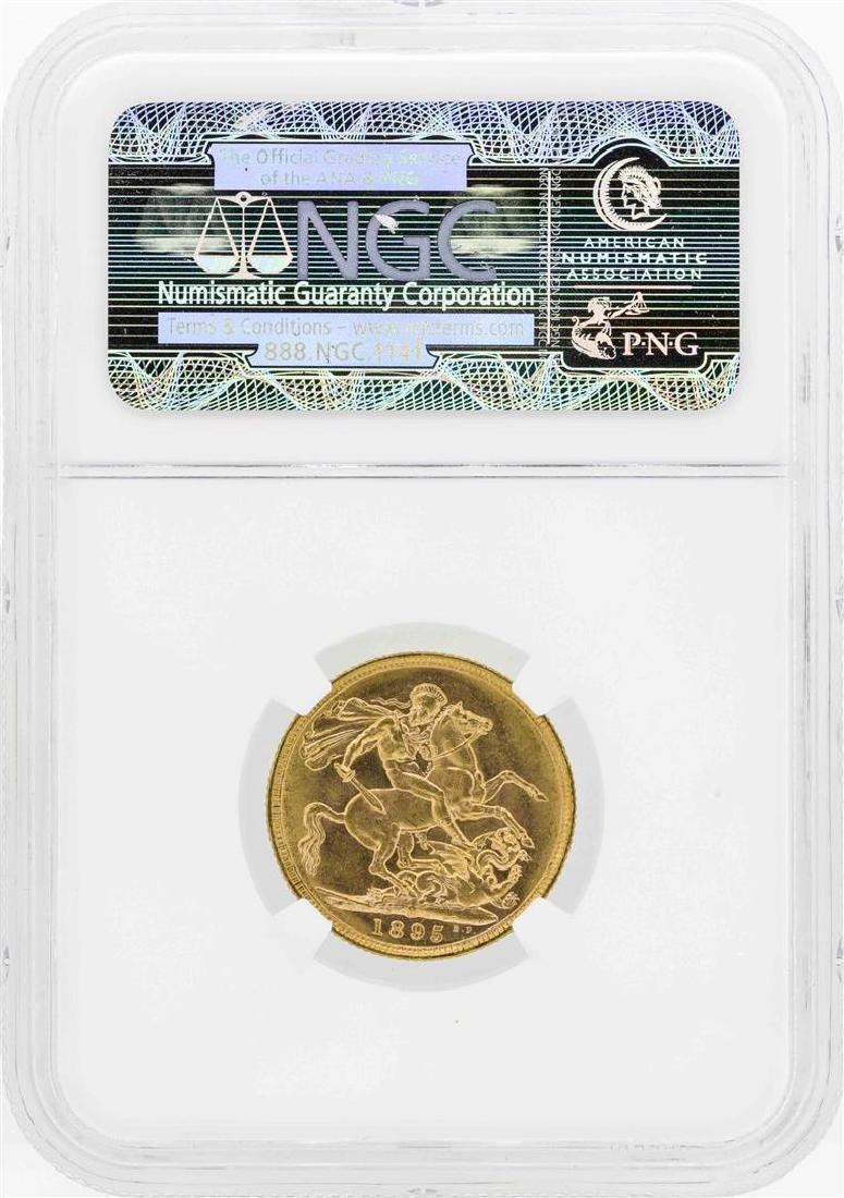 1895M Australia Sovereign Gold Coin NGC MS62 - 2
