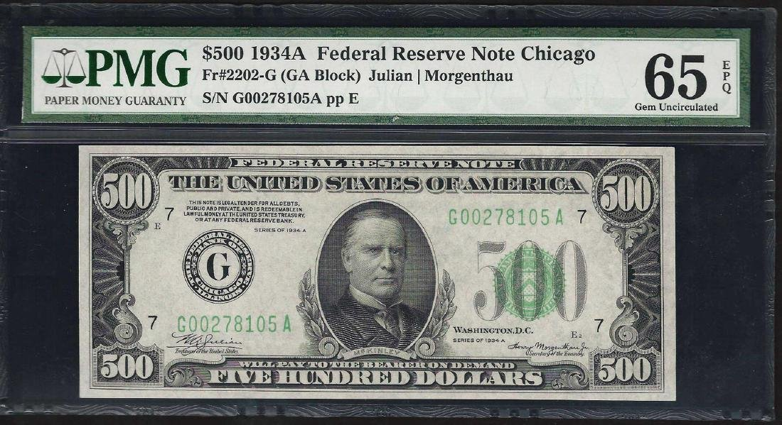 1934A $500 Federal Reserve Note Chicago Fr.2202-G PMG