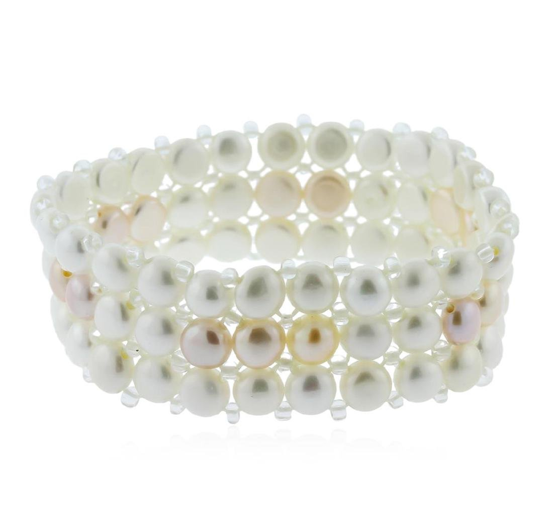 Unique Fashion 3 Row Cultured White Pearl Bracelet